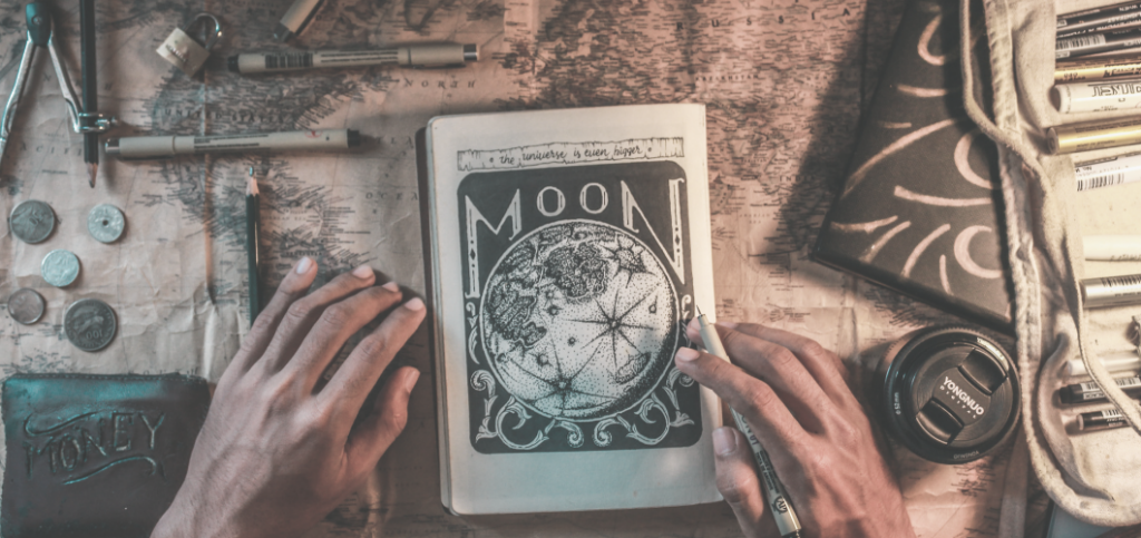 What is Witchcraft Blog Post Image - Witch with hand on Moon Illustration in Book of Shadows